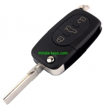 AU-202+205 Audi Flip Remote Shell HU66 3 Button