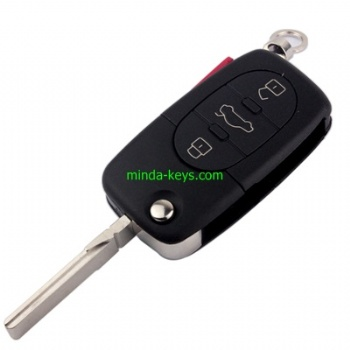 AU-204+205 Audi Flip Remote Shell HU66 4 Button