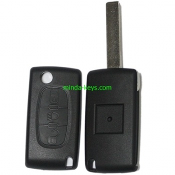 PE-210 Peugeot Citroen Flip Remote Shell 3 Button Light without BC VA2 Blade