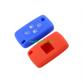 PESC-2 Silicone Car Key Case Cover For Peugeot Citroen Flip Prox Remote Shell